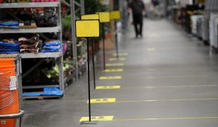 Image of B&Q store with floor markings