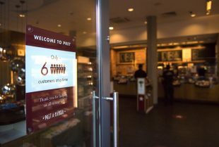 Image of Pret store with social distancing sign