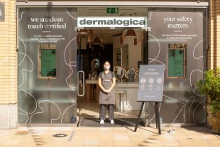 Dermalogica store front with safety information