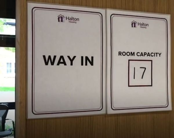 Room capacity and directional signage for meeting room